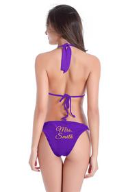 Customized Mrs. Name on String Halter and Sash Tie Bikini Bottom with Glitter Print