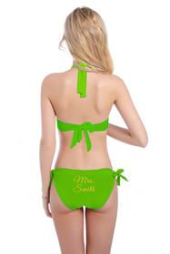 Customized Mrs. Name on Halter Top and Sash Tie Bikini Bottom with Glitter Print