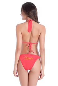 Customized Bride on String Halter and Sash Tie Bikini Bottom with Glitter Print