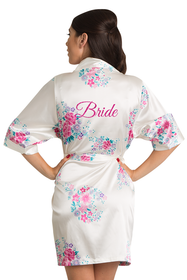 Floral Bride Satin Robe