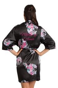 Floral Matron of Honor Satin Robe