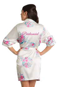 Floral Bridesmaid Satin Robe