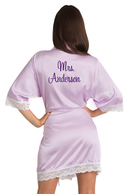 Personalized Glitter Print Mrs. Lace Satin Robe