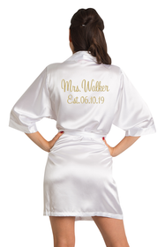 Personalized Embroidered Mrs. Satin Robe with Est. Date