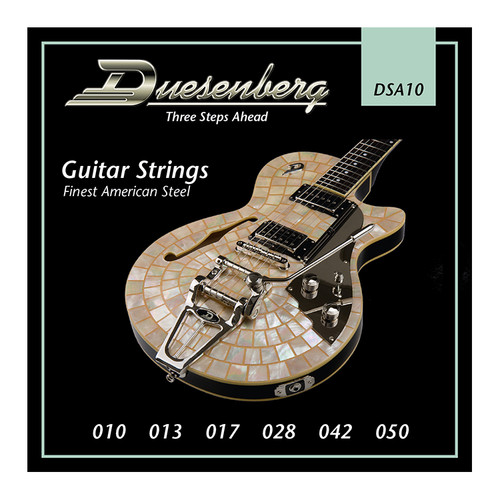 Duesenberg strings - The real deal. Because if you want good tone, you need good strings.  This is our standard set which is factory fitted to all regular Duesenberg guitars. It is optimzed for the scale length and resonance behaviour of our instruments and provides defined bass response through thicker E and A strings. Gauge: 010 | 013 | 017 | 028 | 042 | 050 Finest Steel Strings made in USA - nickel wound.