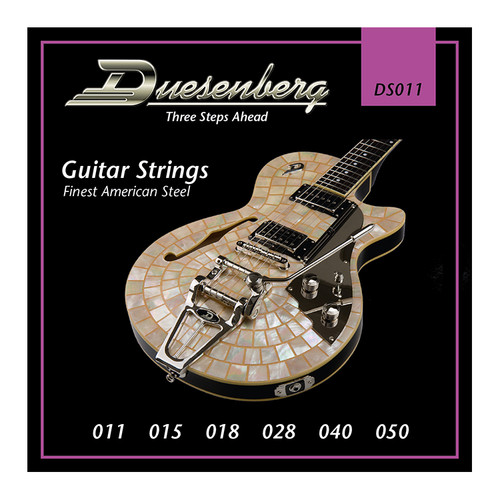 Duesenberg strings - The real deal. Because if you want good tone, you need good strings.  Gauge: 011 | 015 | 018 | 028 | 040 | 050 Finest Steel Strings made in USA - nickel wound.