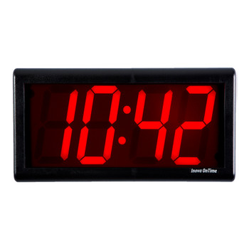 Inova On-Time Wall Clock ONT4BK-P Black Plastic Case with 4 Digit Red LED