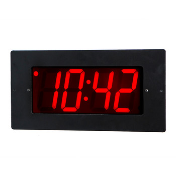 Inova On-Time Wall Clock ONT4FM Flush Mounted Black Plastic Case with Black Aluminum Face Plate 4 Digit Red LED