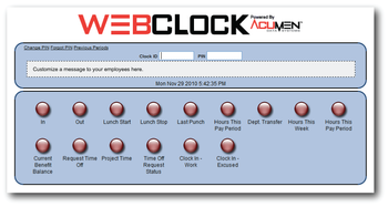 WebCLOCK Web Browser-Based Employee Time & Attendance Software