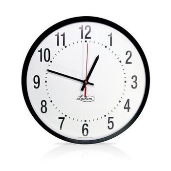 """Lathem 12"""" Round Surface Mount Synchronous Clock 110Volt"""