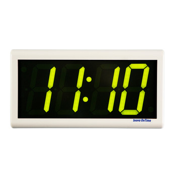 Inova On-Time Wall Clock ONT4OW-P-G Off White Plastic Case with 4 Digit Green LED