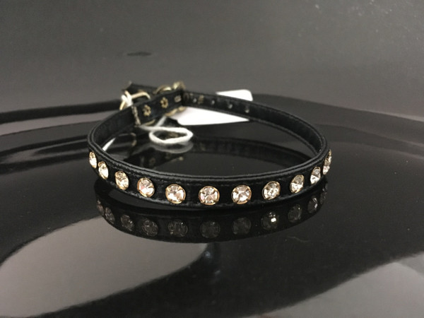 """Black with clear crystals 12"""""""