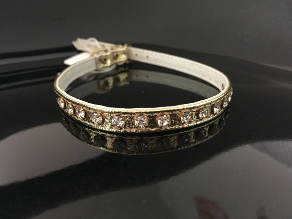 """Gold with clear crystals 14"""""""