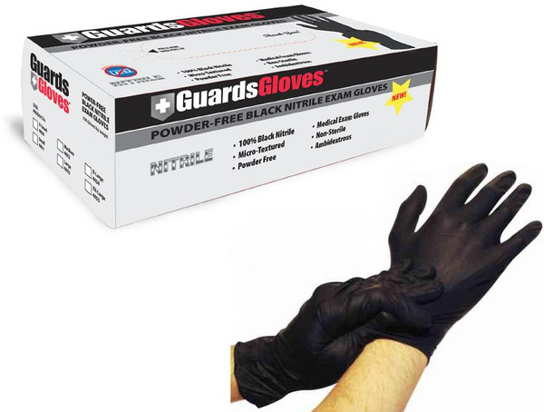 Black Nitrile Powder-Free Exam Gloves: 1,000 X-LARGE