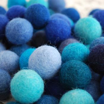 100% Wool Felt Balls - 100 Count - 2cm - Blue Colours