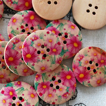 10 Floral Wood Buttons - Pink Daisy Flower - 3cm