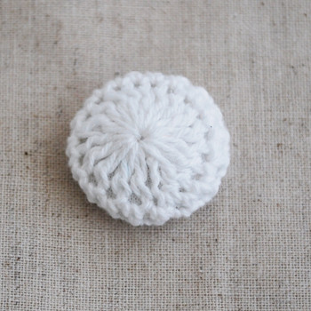Handmade Crocheted Threads Covered Button - White - 2.2cm