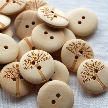 10 Wood Buttons - Tree - 2cm