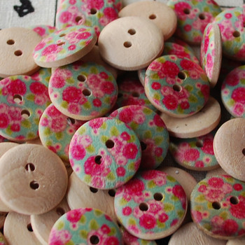 10 Retro Floral Wood Buttons - Rose Flower - 1.8cm