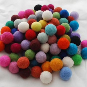 100% Wool Felt Balls - 100 Count - 2.5cm - Assorted Colours