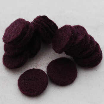 100% Wool Felt Die Cut Circles - 3cm - 10 Count - Aubergine Purple