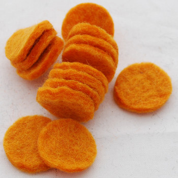 100% Wool Felt Die Cut Circles - 3cm - 10 Count - Orange