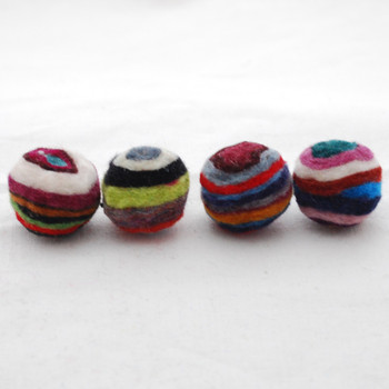 Assorted 100% Wool Striped Felt Balls - 10 Count - 2cm