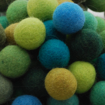 100% Wool Felt Balls - 100 Count - 2.5cm - Green Colours