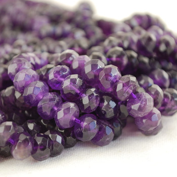 30 x Natural Amethyst Beads Faceted Rondelle 8x6mm
