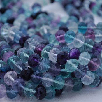 30 x Natural Rainbow Fluorite Beads Faceted Rondelle 8mm x 10mm