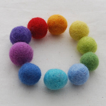 100% Wool Felt Balls - 30 Count - 1.5cm - Rainbow Colours