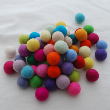100% Wool Felt Balls - 100 Count - 3cm - Assorted Light Bright Colours