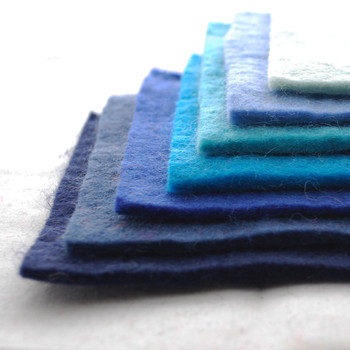 "Handmade 100% Wool Felt Sheets - Approx 5mm Thick - 6"" Square Bundle - Blue Colours"
