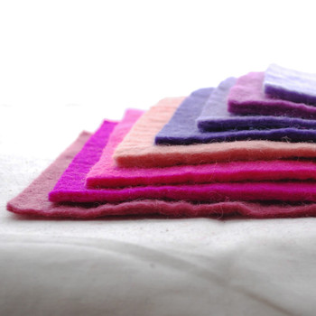 "Handmade 100% Wool Felt Sheets - Approx 5mm Thick - 6"" Square Bundle - Pink Purple Colours"