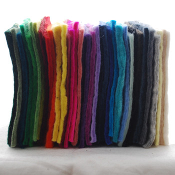 "Handmade 100% Wool Felt Sheets - Approx 5mm Thick - 6"" Square - 35 Colours Bundle"