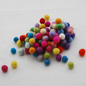 100% Wool Felt Balls - 100 Count - Assorted Light and Bright Colours- 1cm