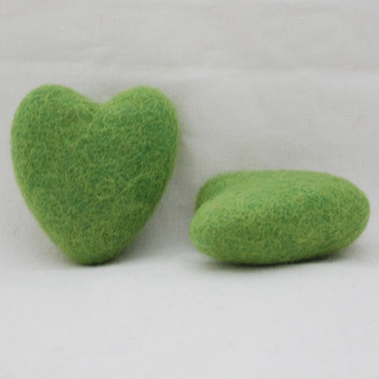 100% Wool Felt Heart - 6cm - Asparagus Green