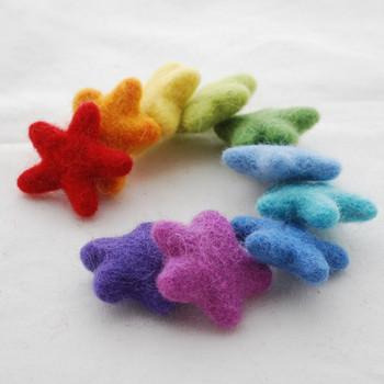 Assorted 100% Wool Felt Stars - 10 Count - Rainbow Colours