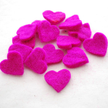 100% Wool Felt Heart Die Cut - 28mm - 10 Count - Garden Rose Pink
