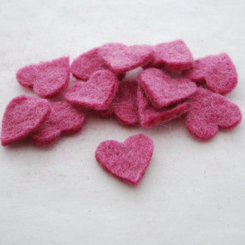 100% Wool Felt Heart Die Cut - 28mm - 10 Count - Victorian Rose Pink