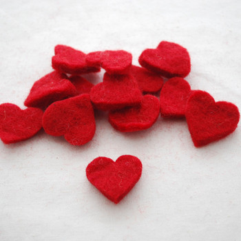 100% Wool Felt Heart Die Cut - 28mm - 10 Count - Red