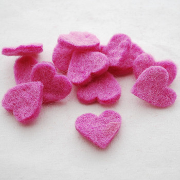 100% Wool Felt Heart Die Cut - 28mm - 10 Count - Tulip Pink