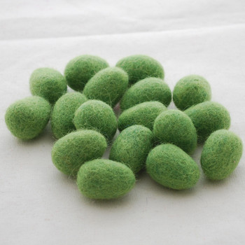 100% Wool Felt Egg - 10 Count - Asparugus Green