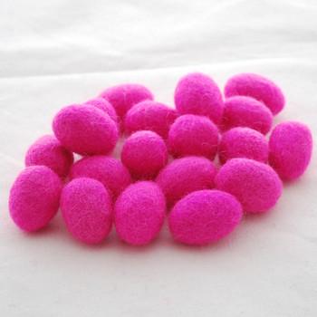 100% Wool Felt Egg - 10 Count - Hot Pink