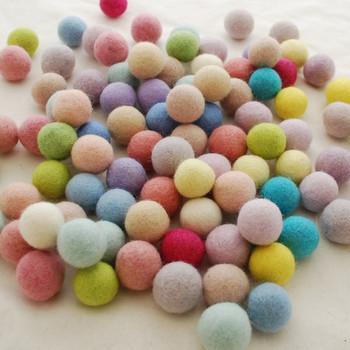 100% Wool Felt Balls - 100 Count - 2.5cm - Assorted Light, Pale & Pastel Colours