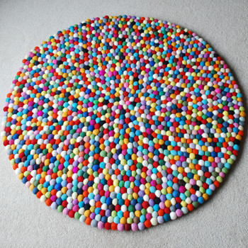 100% Wool Felt Ball Rug - Round - Handmade - 100cm in Diametre - Multi-Coloured 02