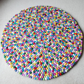 100% Wool Felt Ball Rug - Round - Handmade - 100cm in Diametre - Multi-Coloured 03
