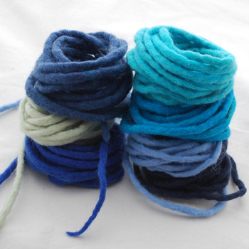 100% Wool Felt Cord - Handmade - Assorted Blue Colours