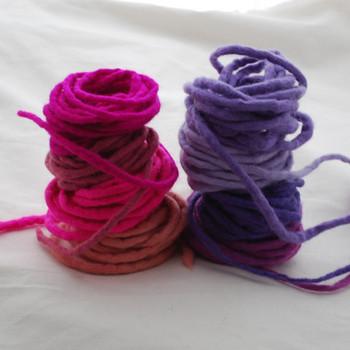 100% Wool Felt Cord - Handmade - Assorted Pink Purple Colours