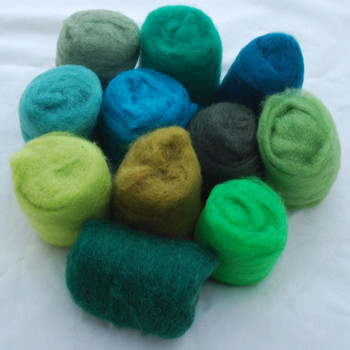 Wool Roving - Green Colours - 275g